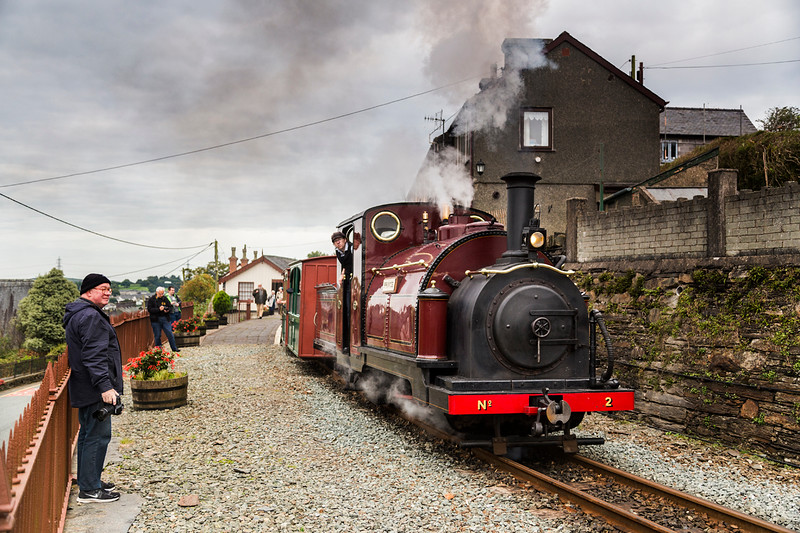Now I'm beginning to get paranoid -as Prince pulls out of Penrhyn.   At this point I had a choice - accept it would remain gloomy and ride the trains or strike out into the Wilds of the vale of Ffestiniog.................