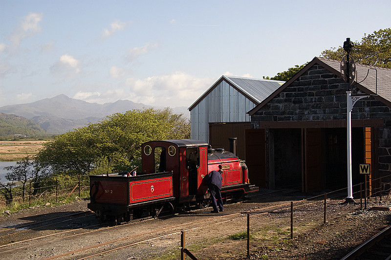 With Snowdon clear of cloud, Prince gets a polish outside the old loco shed at Boston Lodge 2/05/09