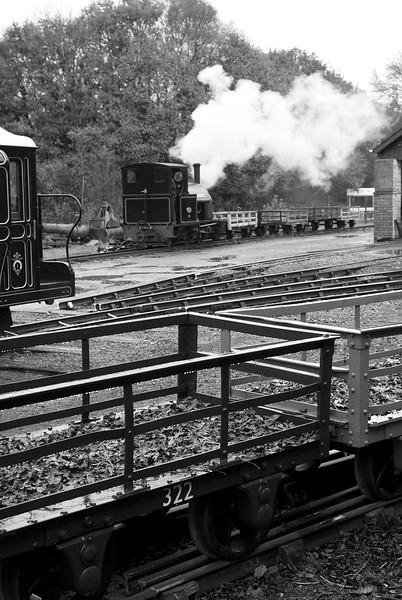Stanhope again - engaged in shunting the slate waggons as the curly roofed van tries to muscle in.