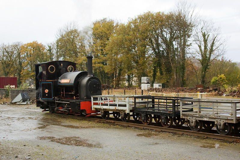 The rain had closed in again and in the gathering gloom Stanhope is shunting slate waggons in Minfordd yard
