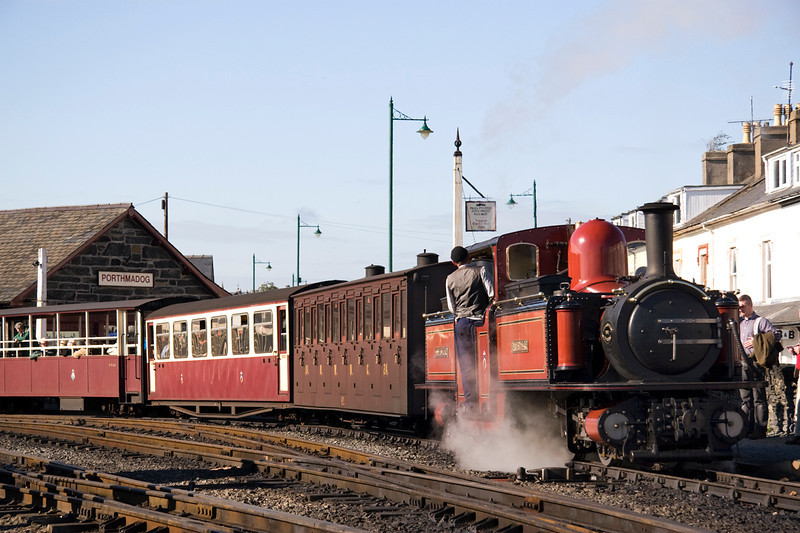 In Porthmadog David Lloyd George prepares to shunt out the stock of the 14.15 to Caernarfon 15/10/11