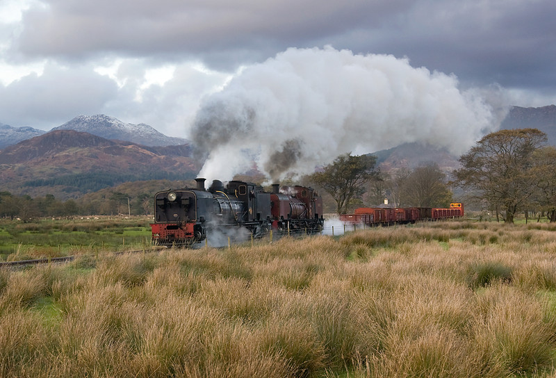 A light dusting of snow on the flanks of Snowdon as the pair of garratts give another runpast near Pont Croesor 3/11/13