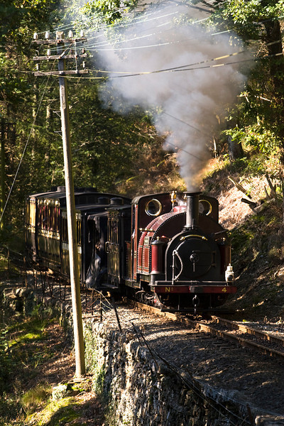 It's now Palmerston's turn on the 12.40 porthmadog - Tany-Bwlch vintage train, seen dodging the shadows at Gysgfa 15/10/11