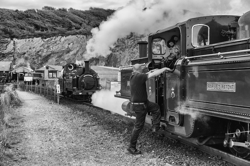 8th October 2016 and it is the Ffestiniog Railway Victorian weekend.   Early in the morning and it was full-on gloom.   David Lloyd George and Palmerston were shunting into the yard at Boston Lodge