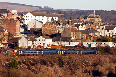 A pair of class 158 sprinters drop down the 1 in 70 gradient with 2G23 1005 Newcraighall to Cowdenbeath.