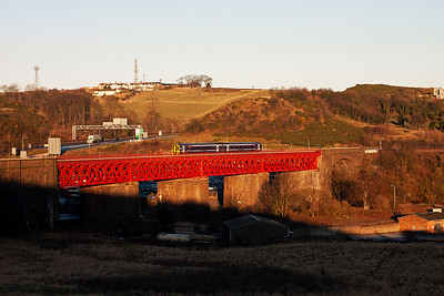 The metalwork of the viaduct is now in full sunlight and a class 158 Sprinter heads south with a class 2 local working 2G16 0905 Markinch to Edinburgh.