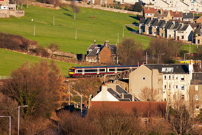 SPT liveried 170476 climbs up the 1 in 70 gradient with 2K21 1023 Glenrothes with Thornton to Edinburgh all stations stopping service.