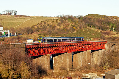 So many units unidentified on this day.  A turbostar climbs over Jamestown  Viaduct with an unidentified working.