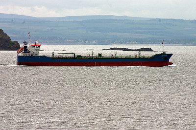 The Dutch registered tanker Bro Galaxy proceeds up river off Kinghorn. The vessel is empty and may be loaded at Grangemouth. She was built in 2001, weighs 7,559 tonnes, is 115 metres long and a beam of 15 metres.