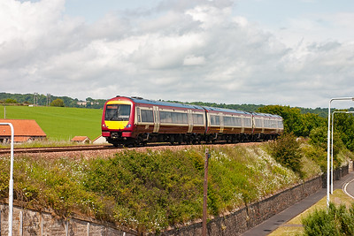 This unit has been seen already today on an earlier diagram. Now it is working 2G65 1037 from Newcraighall to Edinburgh via the Fife Outer Circle. It passes Seafield in the midday sun.