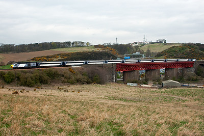 The nine coach formation with 43277 bringing up the rear passes over Jamestown Viaduct.