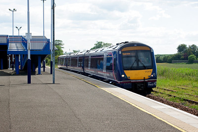 170419 departs Leuchars heading for Aberdeen with ScotRail service 1A78 1528 from Edinburgh.