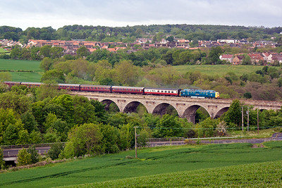 A different view of Markinch Viaduct is had from the high viewpoint of Markinch Cemetery. The type 5 loco leads a SRPS railtour 1Z64 from North Berwick to the Kyle of Lochalsh.