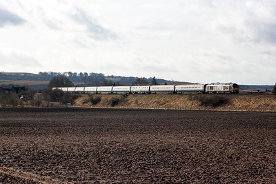 "A railtour drops down Falkland Road Bank with Royal Train loco 67005 ""Queen's Messenger"" leading 1Z30 0604 Darlington to Inverness. The eleven coach train is made up of mkI, mkII and mkIII vehicles all in former BR blue and grey livery."