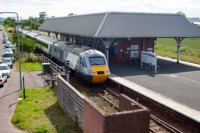 Leuchars is a busy station and is served by ScotRail, East Coast and Cross Country services. The Kings Cross train slowly departs the station with Kirkcaldy as its next stop.