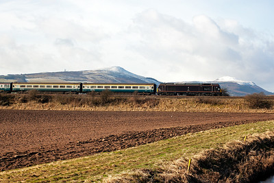 "The snow capped ""Paps of Fife"" forms the backdrop to 67005 as it nears Ladybank and the junction with the Newburgh branch to Perth and the HIghland Main Line to Inverness."