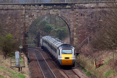 Looking south again and a down HST set passes below the Star road bridge with 43308 fronting 1S03 0710 from Leeds to Aberdeen.