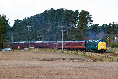 "Major heritage traction now and National Railway Museum owned Deltic 55002 ""The Kings Own Yorkshire Light Infantry"" passes over Sweetholme occupational crossing near Bow of Fife. 12/4/2014"