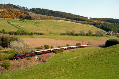 Having spent some 40 minutes in the down loop at Thornton Junction to allow several trains to overtake, 37685 and 37516 continue their leisurely journey. With the previous sprinter clear of the section signal at Newburgh, the Royal Scotsman is allowed onto the branch at Ladybank.