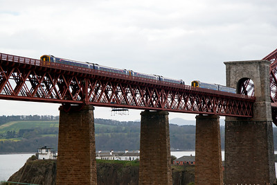 Sprinters meet on the north viaduct with the southbound pair forming 1B22 1045 Inverness to Edinburgh with the single unit running as 2K03 1340 Edinburgh to Glenrothes with Thornton.