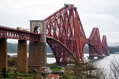 A piece of On Track Plant disturbs the peace as it comes over the North Viaduct high above North Queensferry.  The headcode is not known but it came from Kilwinning and was going to Inverkeithing.
