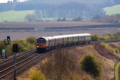 On time 66732 brings the Royal Scotsman down Falkland Road Bank in glorious sunshine.