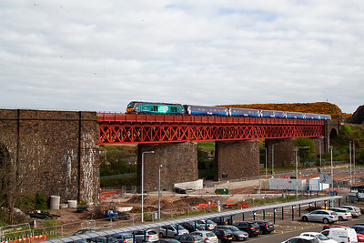 """68002 carries the name """"Intrepid"""" and the fleet are powered by a Caterpillar four stroke 3,800hp C175-16 powerplant.  The loco has six mkII coaches in ScotRail livery on the drawbar and the service is 2G13 1708 Edinburgh to Glenrothes with Thornton."""