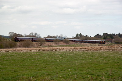But the company DOES bother and insists that the loco hauling their train is painted in the same colour as the stock.   Under the current circumstances I think an exception has been made.  This section of line has a 40mph speed restriction due to previous subsidence and here it approaches the site of Lumphinnans Junction.