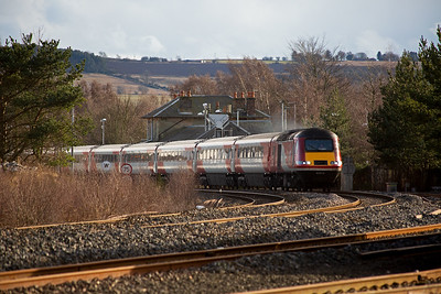 A down Virgin Trains East Coast set runs non stop through Ladybank station forming 1S11 1000 from London Kings Cross to Aberdeen.