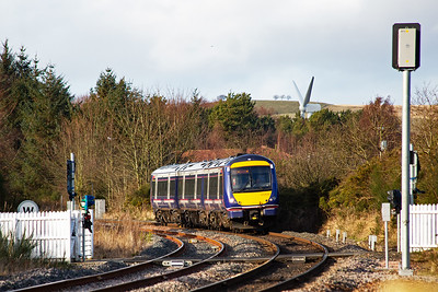 Moving to another part of the ground which borders the Newburgh branch.  170419 approaches with 1B31 1253 Inverness to Edinburgh.  The branch is single tracked but the line on the left is the passenger loop.