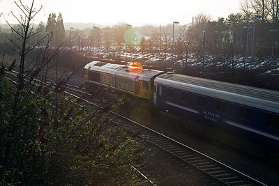 The driver of 66740 slowly moves the train out of the loop.