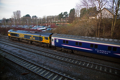2017 kicks off with something unusual, GBRf 66740 with the Aberdeen portion of the Highland Sleeper in the down passenger loop at Kirkcaldy.  The train, 1A25 0443 Edinburgh to Aberdeen Sleeper, terminated here due to a brake problem with one of the coaches.  27/1/2017
