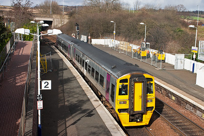 Alphaline liveried sprinter 158863 is far from home and on hire to First ScotRail.  It is rostered to a Fife Circle service 2K43 1342 from and back to Edinburgh .
