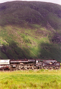 On shed in the evening as the sun drops down. Meall an t-Suidhe broods over Fort William shed in this long lens shot of 44767.  4/7/1997