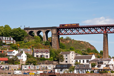 66171 will shortly run off the north viaduct and onto terrafirma at North Queensferry.