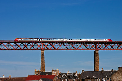 The four vehicle super Voyager unit passes over the north viaduct.