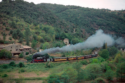 The train to Lamastre is in the hands of large Mallet no 413 - Sept 1990