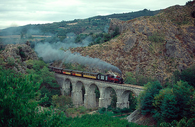 No 413 crossing the viaduct at Arlebosc September 1990