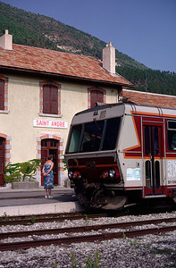 St Andre is a sizeable station and intermediate passing point - here one of the CPrailcars is waiting to head to Digne 7/9/91