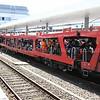 Motor-rail train with many bikes loaded