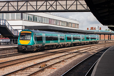 Central Trains operate through Gloucester with their Nottingham to Cardiff services. 170106 forms one such working, 1V08 0710 off Nottingham.