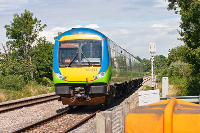 As the afternoon wore on the sun came round and when 170633 passed it favoured neither side of the line. The unit is working 1V26 1202 Nottingham to Cardiff.