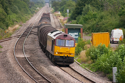 Moving a short distance down the line to an overbridge at Grange Court, and more freight action appears.