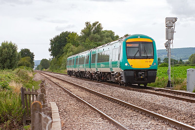 The staple diet of passenger trains along here are Central Trains and Arriva Wales. 170109 heads for the Midlands city of Nottingham with 1M71 1445 departure from the Welsh capital, Cardiff.