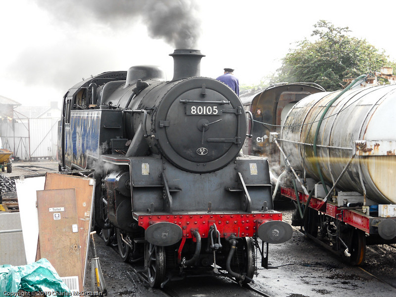 80105 being prepared for her first train of the day