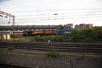 66188 fronts an intermodal working passing Willesden shed, the service is 4M07 0418 Felixstowe to Burton on Trent.