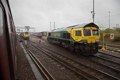 Also at the terminal is 66504 wearing the then latest Freightliner livery.