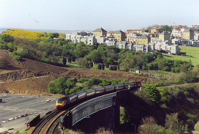 The Virgin set is seen crossing Jamestown Viaduct. A new view of the viaduct has been opened up with the creation of the park and ride carpark to the left.