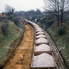 Derby Road, Ipswich. Laying ballast for the passing loop extension. 31st January 1999. View from Foxhall Road bridge towards Fuschia Lane bridge,<br /> <br /> Image with kind permission of Stuart McNae