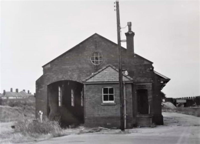 Felixstowe Town goods shed  with Garrison Lane bridge to the right.<br /> <br /> Goods facilities here were withdrawn on 5th December 1966.<br /> <br /> Image:- Thanks to Sarah Hall.